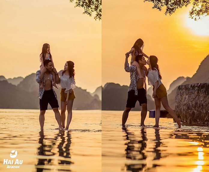 Minh Tiệp và vợ hạnh phúc tại Hạ Long