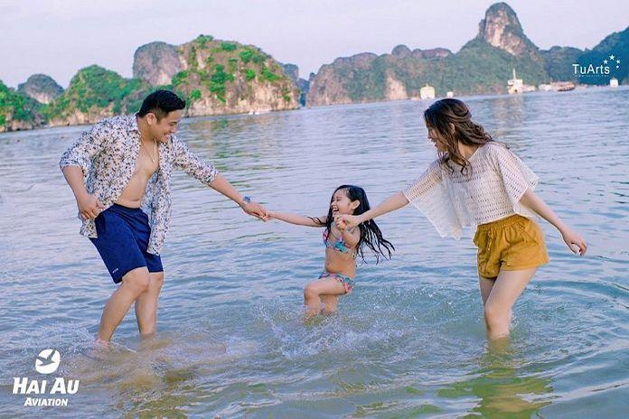 Diễn viên Minh Tiệp chụp ảnh cưới ngọt ngào bên thủy phi cơ