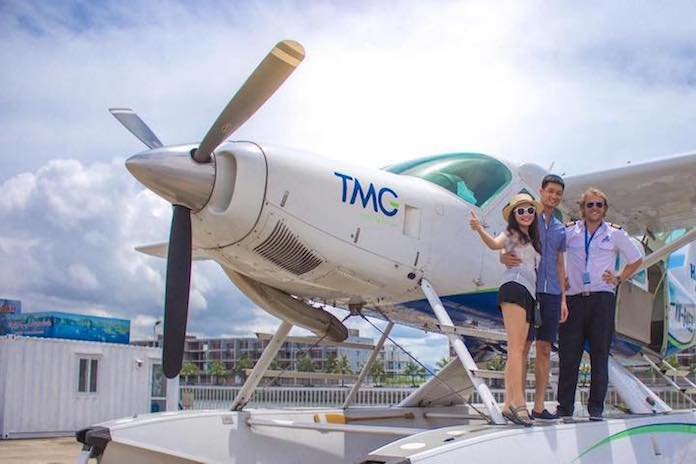 seaplane flight with famous people Halong Bay weekend
