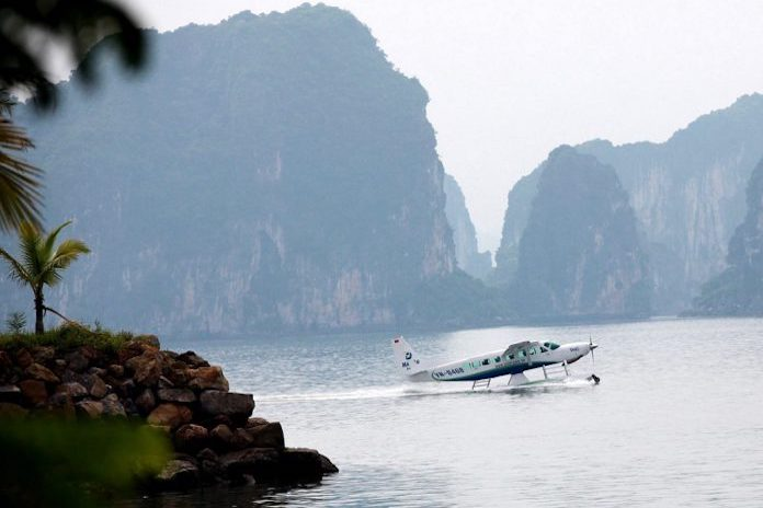 seaplane flight and halong bay cruise tour travel trend