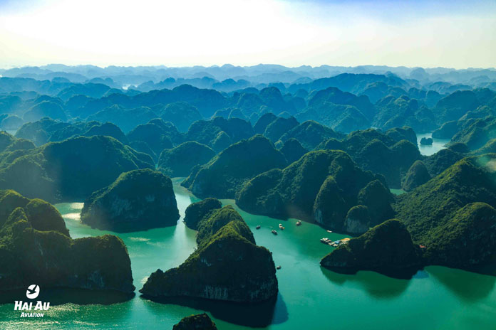 View of the flight from Hanoi to Halong Bay
