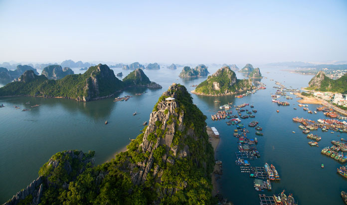 Top view from Hanoi to Halong Bay