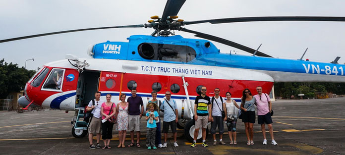 helicopter from Hanoi to Halong Bay