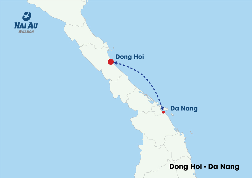 Map Flight Route DongHoi DaNang